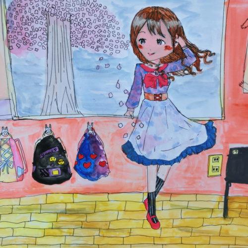桜をみつめる少女