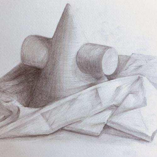 幾何形立体と布  デッサン